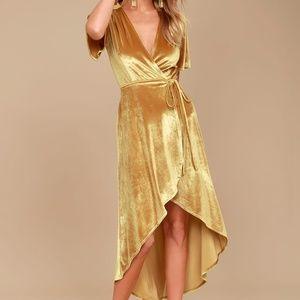 Lulus Amour Golden Velvet High-Low Wrap Dress XS